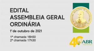 Edital para Assembleia Geral Ordinária – on line – dia 1º de outubro de 2021